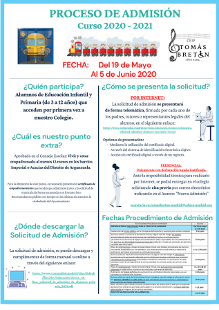 PROCESO DE ADMISIÓN Curso 2020 - 2021